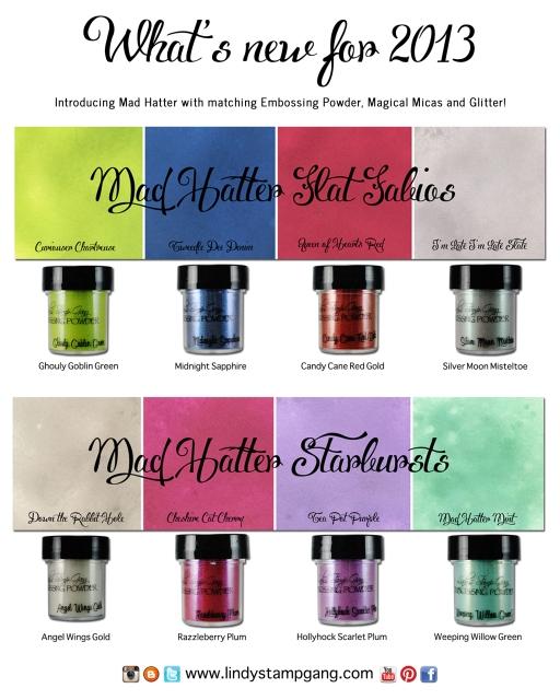 Mad Hatter Matching guide lindy's stamp gang starbursts flat fabios glitter shimmer sparkle shine spray ink