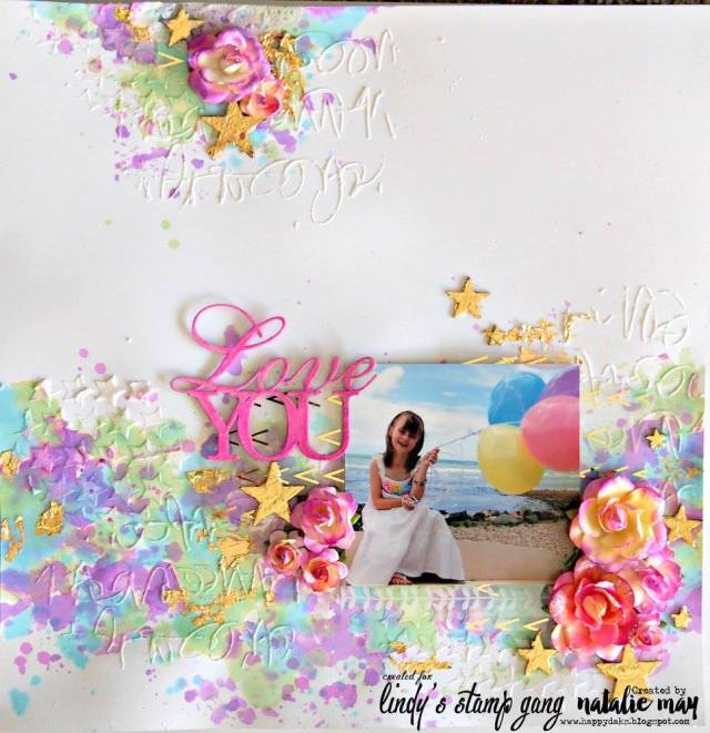 scrapbook layout with sprays