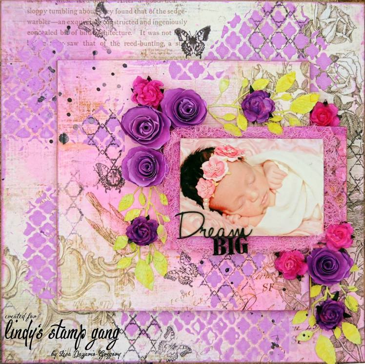 scrapbook layout with sprays and magicals for texture