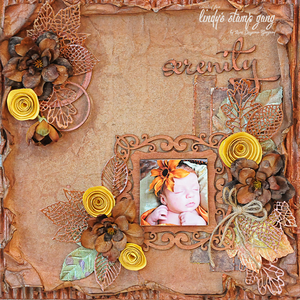 Create your own scrapbook - Here Is A Close Up Of The Layout The Frame Around The Photo Is Wood I Sprayed It With Incandescent Copper Moon Shadow Mist The Yellow Flowers Are Spiral
