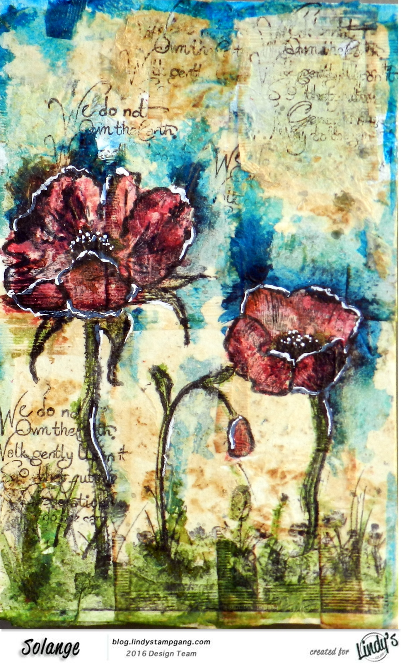 watercolor on tea bag by Solange Marques using Magical Lindy's Stamp Gang -07