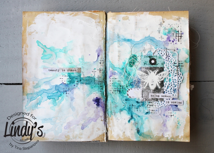 Art journal @happytin4ik #lindysgang #7dotsstudio #stampotiquestamps #artjournal #mixedmedia #mixedmediaart